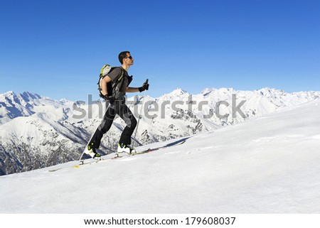Ski mountaineering cross country skiing in Italian Alps