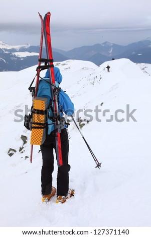 Ski mountaineering in Tarcu mountains, Romania - stock photo