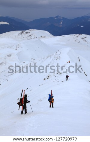 Ski mountaineering in Tarcu mountains, Romania