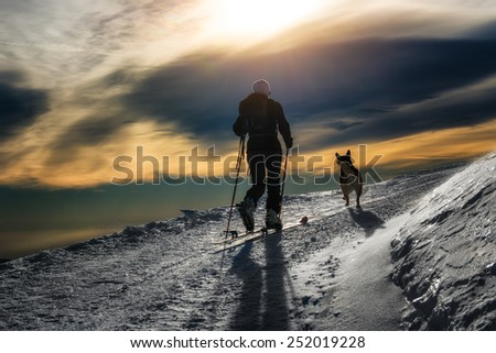 Ski mountaineering silhouette, girl with a dog - stock photo