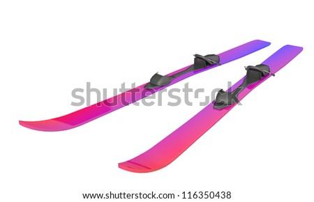 Ski on a white background - stock photo