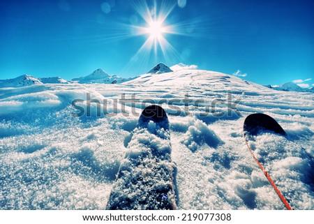 Ski on italian alps - stock photo