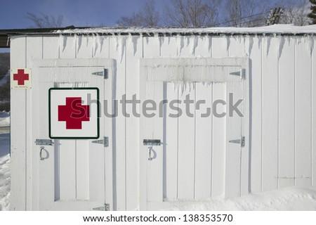 Ski patrol hut, Stowe, Vermont, USA - stock photo