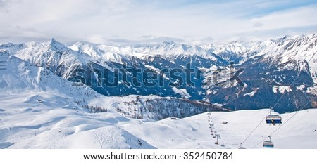 Ski piste in the mountains in winter