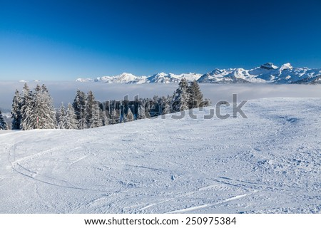 Ski region Mythen in Swiss central alps, Switzerland in February 2015