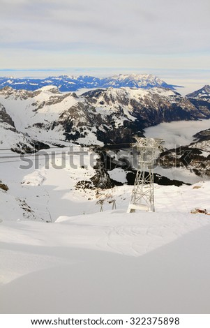 Ski resort. Alps, Titlis, Engelberg, Switzerland - stock photo