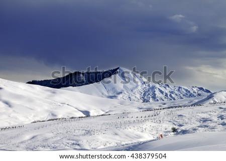 Ski resort and sky before storm. Greater Caucasus, Shahdagh. Qusar rayon of Azerbaijan. - stock photo