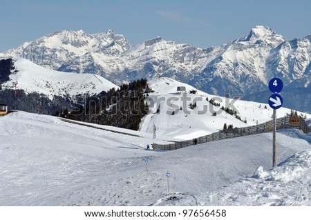 Ski resort and the mountains of Zell am See, Austrian Alps at winter
