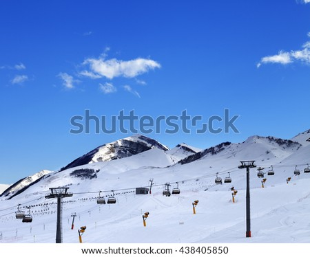 Ski resort at evening. Greater Caucasus, Mount Shahdagh. Qusar rayon of Azerbaijan. - stock photo