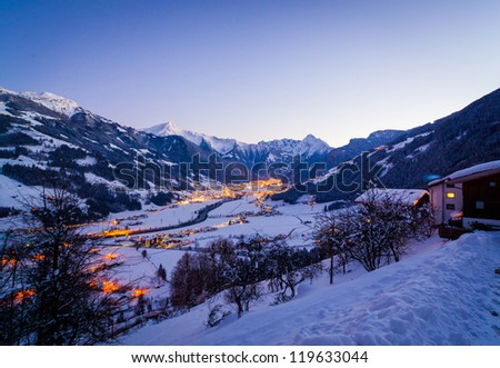 Ski resort at night. Night view of the bird's-eye view of the valley of Zell am Ziller, Tirol, Austria - stock photo