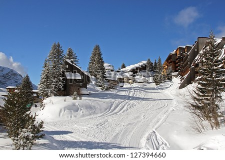 Ski resort. Avoriaz. France. - stock photo