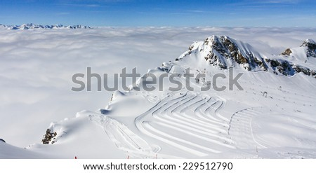 ski resort in mountains - stock photo