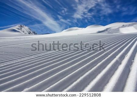ski resort in mountains - stock photo