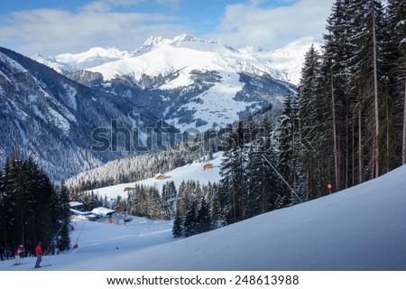 Ski resort in the ziller valley - stock photo