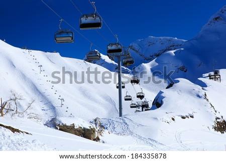 Ski resort. Krasnaya Polyana, Sochi, Russia - stock photo