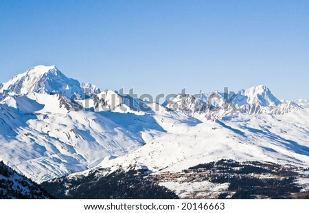 Ski resort Les Arcs and Mont Blanc. France