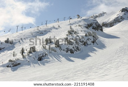 Ski resort lift and slopes
