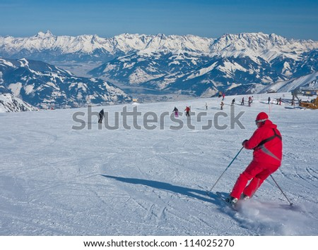 Ski resort of Kaprun, Kitzsteinhorn glacier. Austria - stock photo