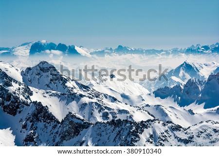 Ski resort of Neustift Stubai glacier Austria - stock photo
