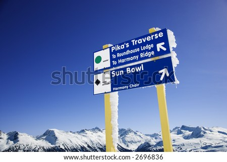 Ski resort trail signs in Whistler, British Columbia, Canada.