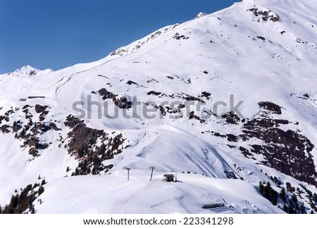 Ski run and piste in Mayrhofen ski resort in Zillertal Alps in Tirol, Austria - stock photo