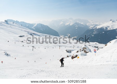Ski run slope downhill wide broad mountain snow