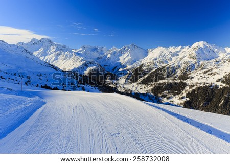 Ski run, 4 Valley Swiss Alps - stock photo