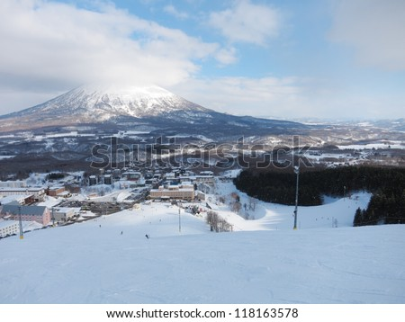 Ski runs in Hokkaido, Japan (Hirafu, Niseko and Mount Yotei) - stock photo