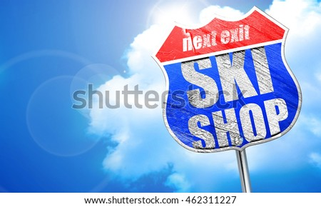 ski shop, 3D rendering, blue street sign
