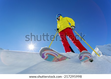 Ski, Skier, Freeride in fresh powder snow - stock photo