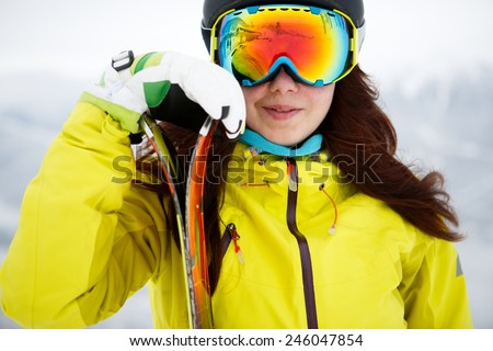 Ski, skier, winter - Closeup of smiling skier woman - stock photo