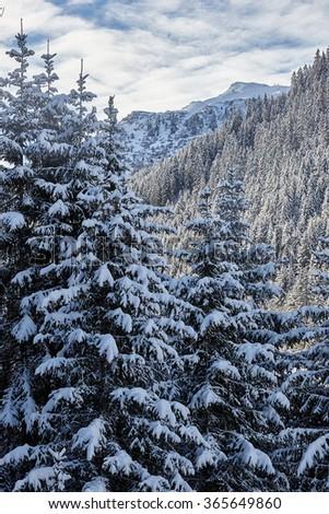Ski slope and panorama of winter mountains. Alpine ski area The Three Valleys, France - stock photo
