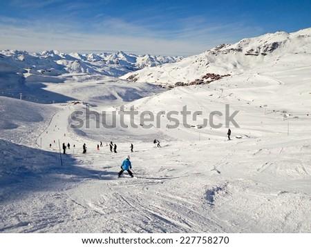 Ski slope at Val Thorens, 3 Valleys ski resort in the Alps, France - stock photo