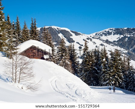 Ski slope in Saalbach - stock photo