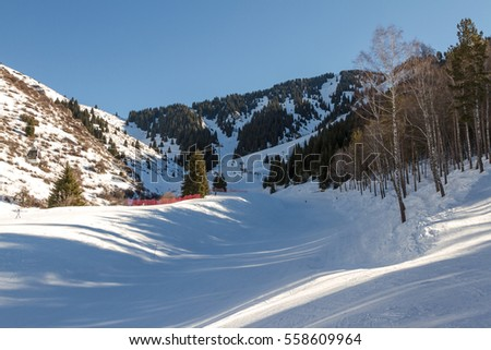 ski slope in the mountains of Tien Shan, near Almaty