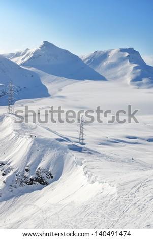 Ski slope on vorab glacier, Switzerland - stock photo