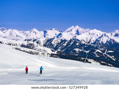 Ski slopes and skiers in Austria, Katschberg resort