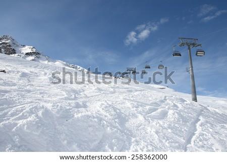Ski slopes around Solden in Austria. - stock photo