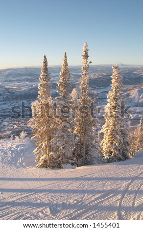 Ski slopes at winter, Steamboat ski resort, Colorado, United States - stock photo