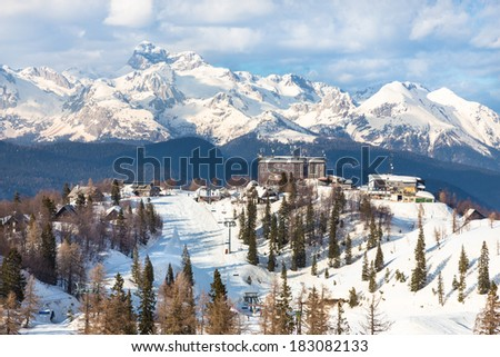 Ski slopes of Vogel, Triglav natural park, Julian Alps, Slovenia, Europe.