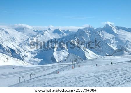 Ski slopes on Hintertux glacier in Alps nearby Zillertal valley in Austria - stock photo