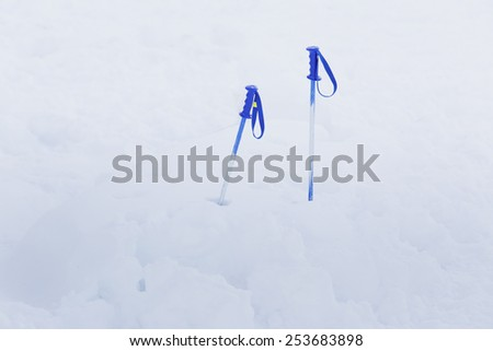 ski sticks in the snow - stock photo