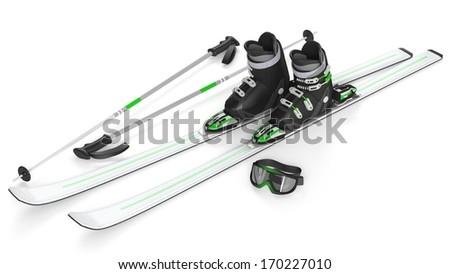 Ski, sticks, mask items isolated - stock photo
