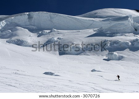 Ski touring on a glacier