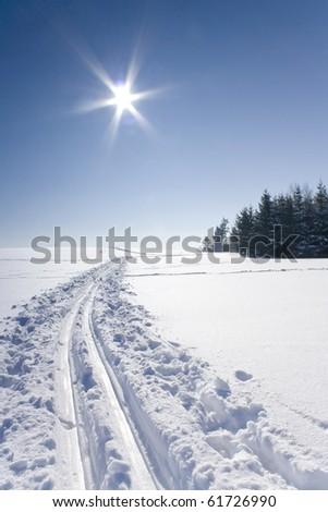 Ski track - stock photo