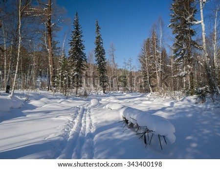 Ski track along the river - stock photo