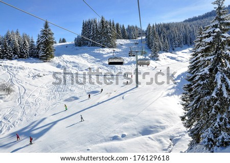 Ski track on a sunny day - stock photo