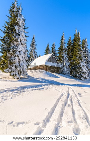 Ski track to wooden hut covered with fresh snow in winter scenery of Gorce Mountains, Poland - stock photo