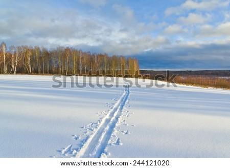 Ski track. Winter scene in Central Russia - stock photo