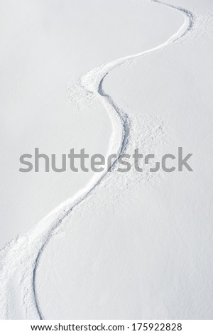 Ski Tracks on a Slope, Val Thorens, France - stock photo
